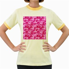 CAMO DIGITAL PINK Women s Fitted Ringer T-Shirts