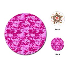 CAMO DIGITAL PINK Playing Cards (Round)