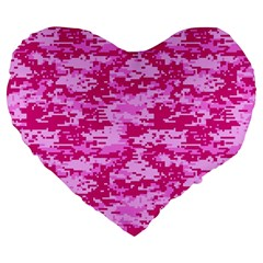 CAMO DIGITAL PINK Large 19  Premium Heart Shape Cushions