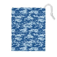 CAMO DIGITAL NAVY Drawstring Pouches (Extra Large)