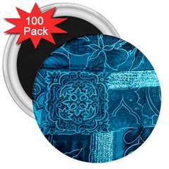 BLUE PATCHWORK 3  Magnets (100 pack)