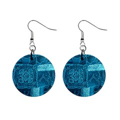 BLUE PATCHWORK Mini Button Earrings