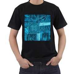 BLUE PATCHWORK Men s T-Shirt (Black) (Two Sided)