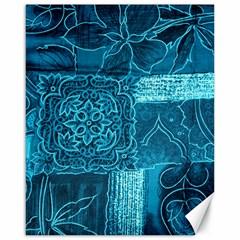 BLUE PATCHWORK Canvas 16  x 20
