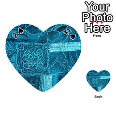 Blue Patchwork Playing Cards 54 (heart)