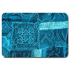 BLUE PATCHWORK Large Doormat