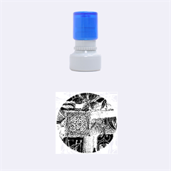 Blue Patchwork Rubber Round Stamps (small)
