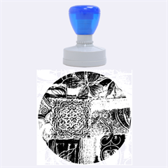 Blue Patchwork Rubber Round Stamps (large)