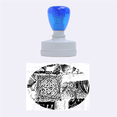 BLUE PATCHWORK Rubber Oval Stamps
