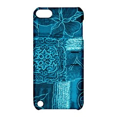 BLUE PATCHWORK Apple iPod Touch 5 Hardshell Case with Stand