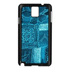 BLUE PATCHWORK Samsung Galaxy Note 3 N9005 Case (Black)
