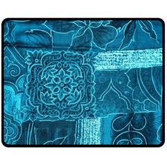 BLUE PATCHWORK Double Sided Fleece Blanket (Medium)