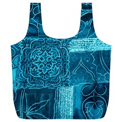 BLUE PATCHWORK Full Print Recycle Bags (L)