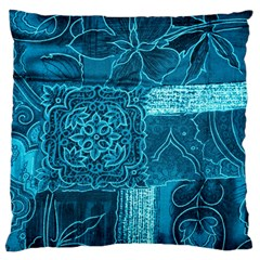 BLUE PATCHWORK Standard Flano Cushion Cases (One Side)