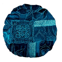 BLUE PATCHWORK Large 18  Premium Flano Round Cushions