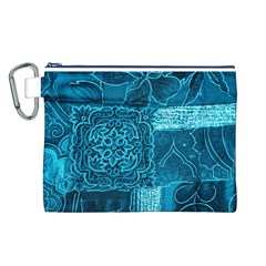 BLUE PATCHWORK Canvas Cosmetic Bag (L)