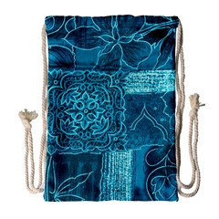 Blue Patchwork Drawstring Bag (large)