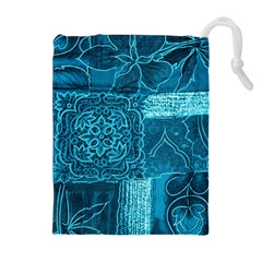 BLUE PATCHWORK Drawstring Pouches (Extra Large)