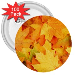 YELLOW MAPLE LEAVES 3  Buttons (100 pack)