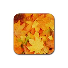 YELLOW MAPLE LEAVES Rubber Coaster (Square)