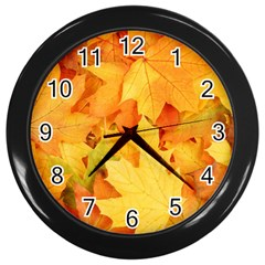 YELLOW MAPLE LEAVES Wall Clocks (Black)