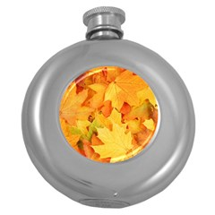 YELLOW MAPLE LEAVES Round Hip Flask (5 oz)
