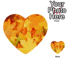 Yellow Maple Leaves Multi Purpose Cards (heart)