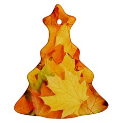 Yellow Maple Leaves Christmas Tree Ornament (2 Sides)