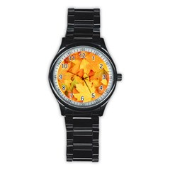 YELLOW MAPLE LEAVES Stainless Steel Round Watches