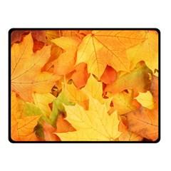 Yellow Maple Leaves Double Sided Fleece Blanket (small)