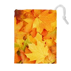 Yellow Maple Leaves Drawstring Pouches (extra Large)