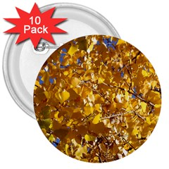 YELLOW LEAVES 3  Buttons (10 pack)