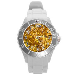 YELLOW LEAVES Round Plastic Sport Watch (L)