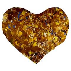 YELLOW LEAVES Large 19  Premium Flano Heart Shape Cushions