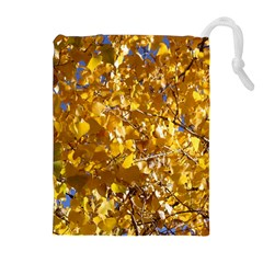 YELLOW LEAVES Drawstring Pouches (Extra Large)