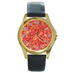 RED MAPLE LEAVES Round Gold Metal Watches