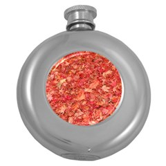 RED MAPLE LEAVES Round Hip Flask (5 oz)