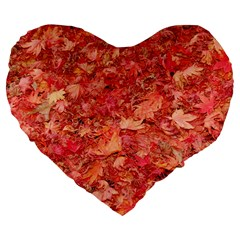 RED MAPLE LEAVES Large 19  Premium Flano Heart Shape Cushions