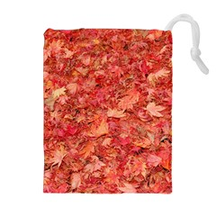 RED MAPLE LEAVES Drawstring Pouches (Extra Large)