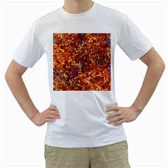 ORANGE LEAVES Men s T-Shirt (White) (Two Sided)