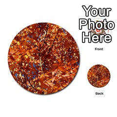 ORANGE LEAVES Multi-purpose Cards (Round)