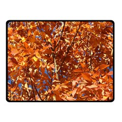 ORANGE LEAVES Double Sided Fleece Blanket (Small)