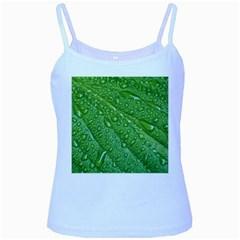 Green Leaf Drops Baby Blue Spaghetti Tanks