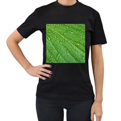 GREEN LEAF DROPS Women s T-Shirt (Black) (Two Sided)