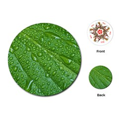 Green Leaf Drops Playing Cards (round)