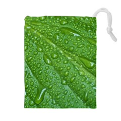 GREEN LEAF DROPS Drawstring Pouches (Extra Large)