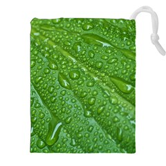 GREEN LEAF DROPS Drawstring Pouches (XXL)