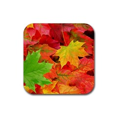AUTUMN LEAVES 1 Rubber Square Coaster (4 pack)