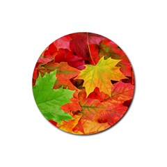 AUTUMN LEAVES 1 Rubber Round Coaster (4 pack)