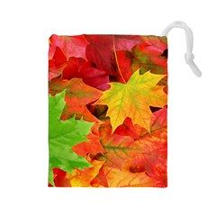 AUTUMN LEAVES 1 Drawstring Pouches (Large)